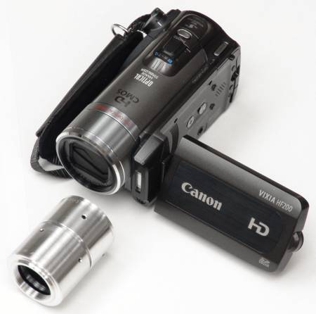 Canon HF200 video camera with C-mount adapter ready to be attached