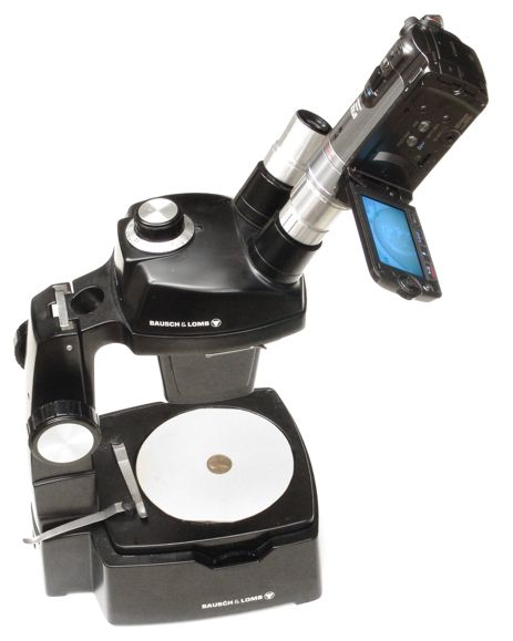 Canon HF200 video camera with 23mm eyetube adapter in use on a microscope binocular