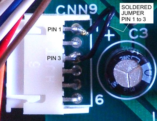 Close-up photo of connector CNN9 on the Kowa fx-50R upper-unit circuit board