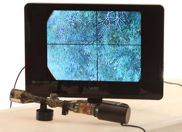 Monitor viewing through TV camera adapted to Barska rifle scope