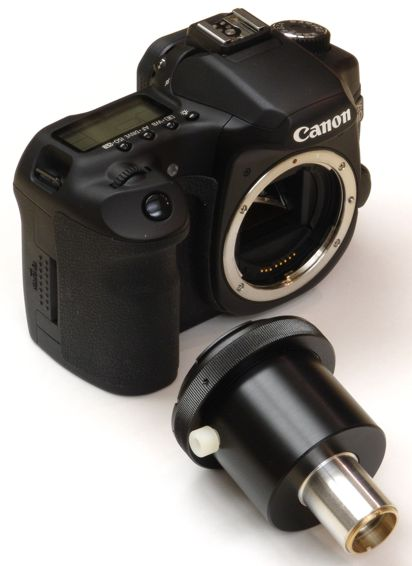 SLR direct projection 23mm eyetube adapter next to a Canon 40D camera