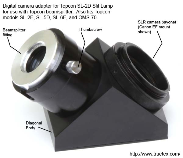 Digital camera adapter for Topcon SL-2D slit lamp beamsplitter