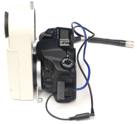 Side view of digital camera on Topcon beamsplitter, showing bayonet adapter ring