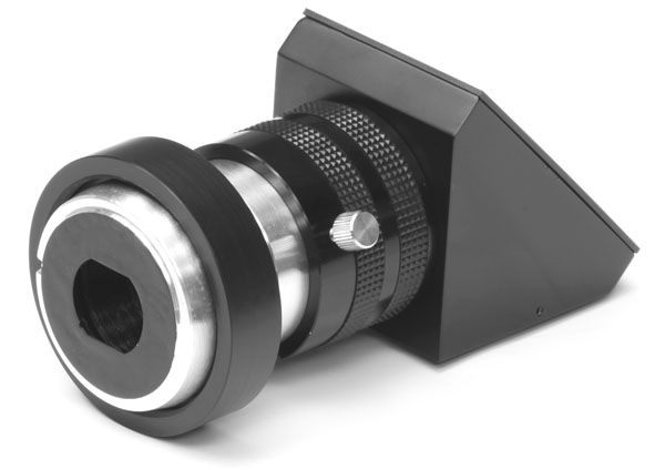 Topcon TRC-50X upper-port diagonal adapter for Canon digital SLR camera (showing Topcon end)