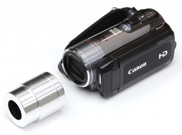 HD video camera adapter for Zeiss OPMI eyetube, shown in position to attach to Canon HF200 HD video camera