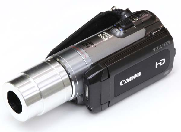 HD video camera adapter for Zeiss OPMI eyetube, attached to Canon HF200 HD video camera