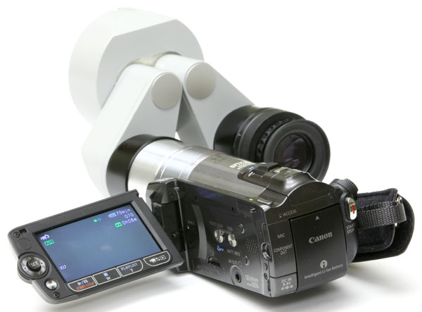 My custom adapter with Canon HD video camera on Zeiss binocular